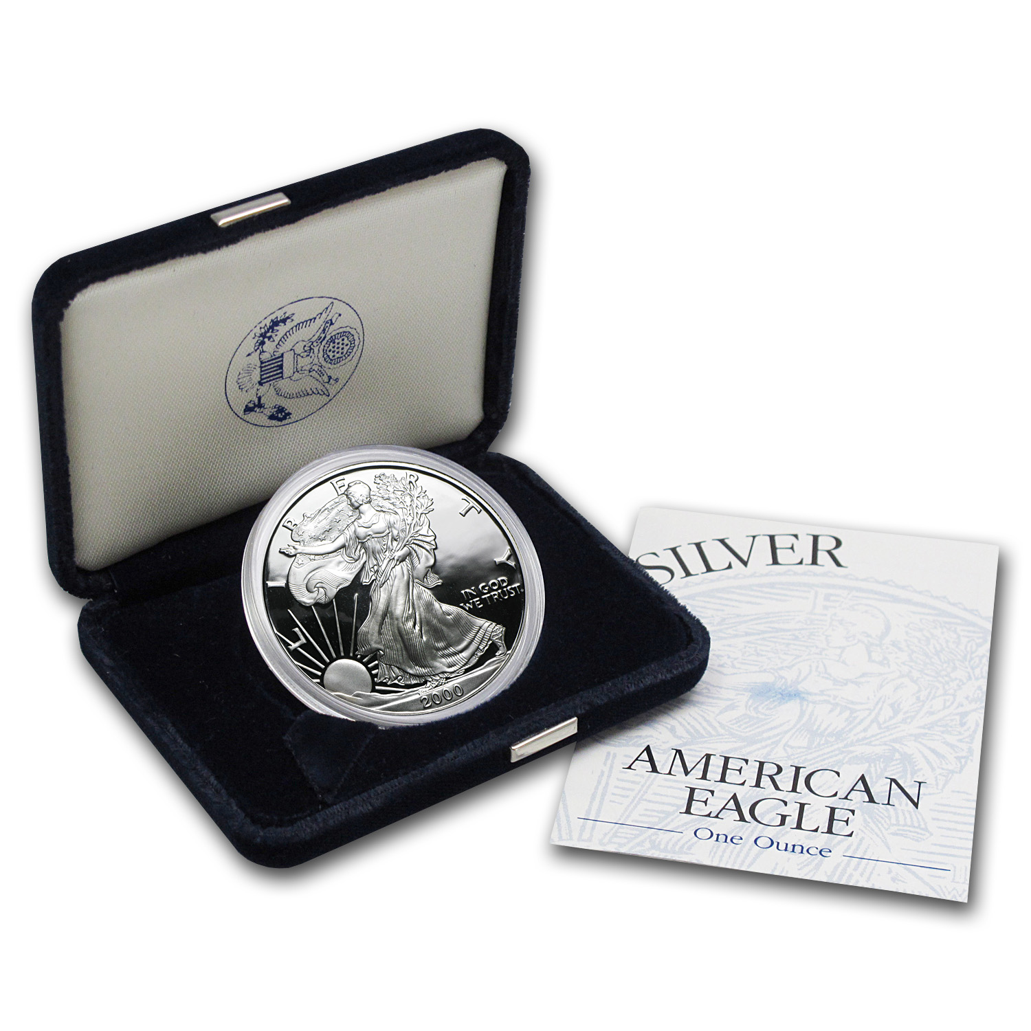 2000-P 1 oz Proof Silver American Eagle (w/Box & COA)